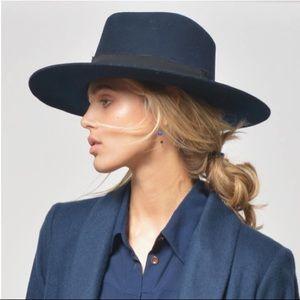 7889fbd2f4e Janessa Leone Accessories - MIRA Navy Wool Hat